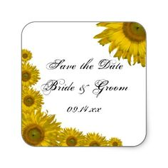 Sunflower Edge Wedding Save the Date Stickers by loraseverson