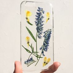 handmade unique pressed dried field wild flower clear case for iphone 6/6s floral
