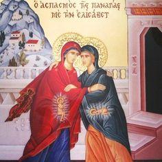 Custom icon of the Theotokos being greeted by St Elizabeth Orthodox Catholic, Catholic Art, Religious Art, Church Icon, Romanesque Art, Biblical Art, Byzantine Icons, Sacred Feminine, Icon Collection