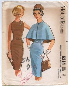 """1960's McCall's Wiggle Dress with Short Cape Pattern - Bust 34"""" - No. 6314 by backroomfinds on Etsy"""