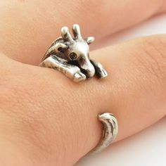 Silver Giraffe Wrap Ring. so adorable