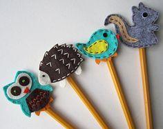 Animal Pencil Topper Set Owl Bird Fox Hedgehog by BabyWhatKnots
