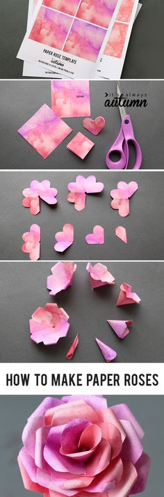 Learn how to make paper roses with this beautiful paper rose template. Step by step instructions included. How to make DIY paper flowers.