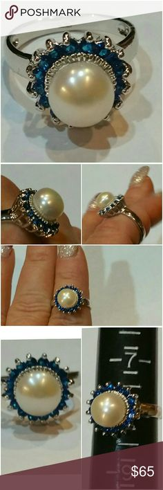 Genuine Blue Sapphire &Akoya Pearl Ring size 8 Here she is again everyone! Classy Beauty! Set in 925 stamped Solid Sterling Silver. Please see all pictures for details. Brand New. Never Worn. Wholesale Price. Msrp 650.00 Jewelry Rings