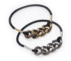 """These Serpentine Black Ties are a great collection of """"the elastic all dressed up."""" Hair tie meets fashionable bracelet for the ultimate women's fashion accessory."""