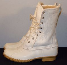 RARE LL Bean White Leather Shearling Lined Winter Snow Boots Women's Size 6 M #LLBean #SnowWinterBoots