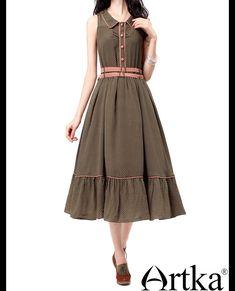 Платья : Платье в стиле ретро без рукавов с широкой оборкой по низу