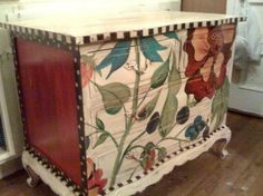Dresser hand painted with large floral design -- by lucky peach designs