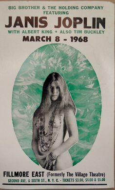 Janice Joplin Concert Poster 14 by 22 inches Very by dantiquenutt, $30.00