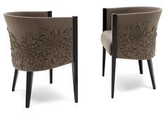 Side chairs by Helen Amy Murray: sculptural art in leather & fabric.