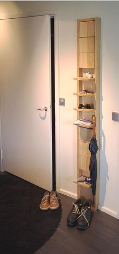 Klaffi Shelves is a space-saving shelving unit that has individual shelves which fold up when not in use.