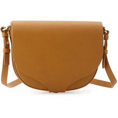 Sophie Hulme Barnsbury Medium Saddle Bag (25,060 THB) ❤ liked on Polyvore featuring bags, handbags, shoulder bags, tan, leather purse, leather crossbody handbags, crossbody handbags, brown leather handbags and crossbody purse