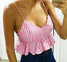 Pink and white striped ruffle trim bralette cami crop top cute summer fashion outfit Boho Fashion Summer, Summer Fashion Trends, Summer Fashion Outfits, Look Fashion, Crop Top Outfits, Mode Outfits, Casual Outfits, Mode Top, Crop Tops