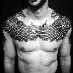 Upper Chest And Collar Bone Male Crow Feather Tattoos