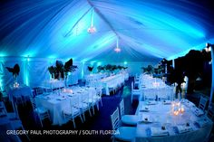 Jennifer J Events: Bryan + Remy - Private Mansion Wedding in Palm Beach! Spearhead Events designed the lighting and tent draping.