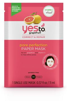 Yes to Grapefruit Pore Perfection Paper Mask, $16 for 5, available July 20 at yestocarrots.com.   - HarpersBAZAAR.com