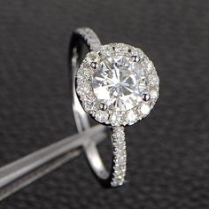 6.5mm Moissanite Engagement Ring Solitaire with Accents,Halo Round Cut,14K White Gold: $719