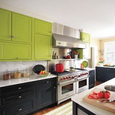 Love the configuration of cupboard and mix of black, green and white marble.