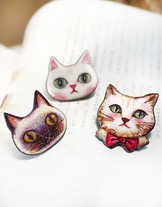 Korean Cute Cat Head Brooch - SUDDENLY CAT