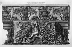 Frieze Hippogriffs ancient marble in the courtyard of the palace of the Valley - Giovanni Battista Piranesi
