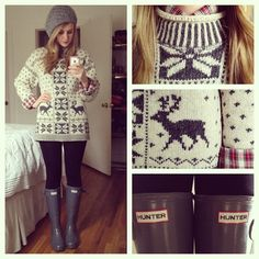 reindeer sweater, plaid button down and hunter boots