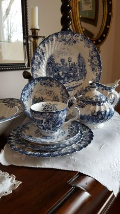 Estate find many years ago. Antique Dishes, Vintage Dishes, Antique China, Vintage China, Blue And White China, Blue China, China China, Kintsugi, Johnson Brothers China