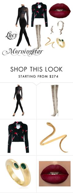 """""""Lucy Morningstar"""" by cornerofficeopulence ❤ liked on Polyvore featuring Wolford, Christian Louboutin, Moschino, Mario Buccellati, Bernard Delettrez, cartier and Louboutin"""