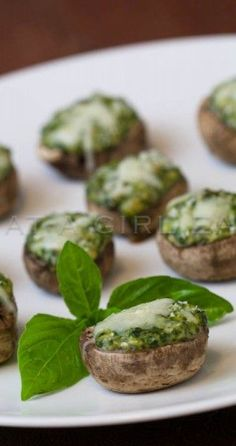 Spinach, gorgonzola and basil stuffed mushrooms.
