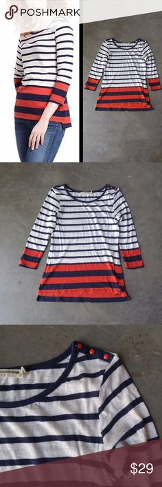 Anthropologie Pilcro Striped Slub Pullover Pilcro and the Letterpress brand top from Anthropologie, size small, in pre-loved but excellent condition! One flaw is a small spot on the front (5th photo). Maybe you can get it out--I haven't tried. Navy and white stripes on top with navy and red stripes on bottom. Three button detail on one shoulder. 3/4 sleeves. Cover photo from Anthro website. No trades. No modeling. Make a reasonable offer. Thanks! Anthropologie Tops Tees - Long Sleeve