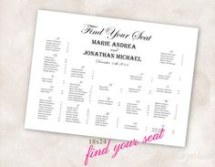 find your seat wedding / wedding poster ideas / sitting order at wedding