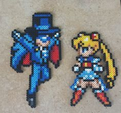 Sailor Moon + Tuxedo Mask - SM Perler Bead Sprites by MaddogsCreations