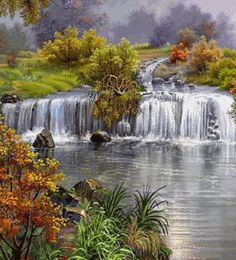 A gentle waterfall peacefully flows along creating a beautiful tranquil countryside scene. Gift format.