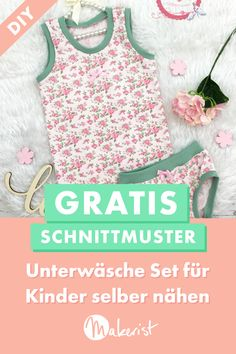 Sew underwear for Unterwäsche für Kinder nähen With a colorful undershirt and panties, your children are also nicely packaged underneath. The free sewing pattern & sewing instructions for the underwear set are available via Makerist. Baby Dress Patterns, Sewing Patterns Free, Free Sewing, Free Pattern, Sewing Tutorials, Kids Winter Fashion, Kids Fashion, Diy Mode, Sewing For Kids