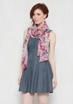 A stacked resume, a vibrant personality, and killer fashion sense as demonstrated by this taupe scarf? You're the total package! The final piece to your interview motif, this accessory touts a fun floral print in ivory, magenta, and cobalt that you'll always keep 'career' and dear to your heart.