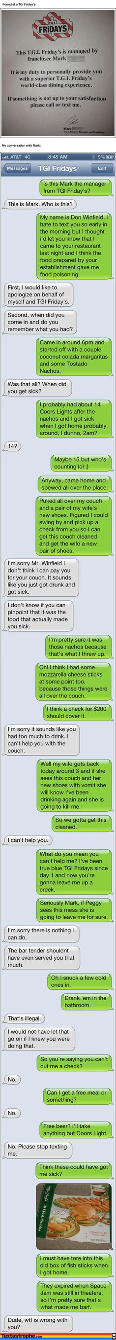 Textastrophe: TGI Friday's text, lol!! 14?