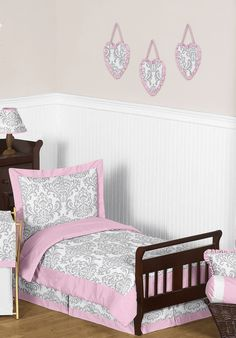 Pink, Gray and White Elizabeth Toddler 5 Piece Bedding Set - Damask Girls Room Themes