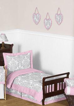 Pink, Gray and White Elizabeth Toddler 5 Piece Bedding Set - Damask Girls Room Themes
