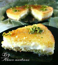 بسبوسة بالقشطة Arabic Dessert, Arabic Sweets, Arabic Food, Arabic Bread, Ramadan Sweets, Ramadan Recipes, Coconut Recipes, Sweets Recipes, Cooking Recipes