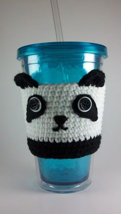 Crochet Panda Cup Cozy Sleeve by HandmadeReverie on Etsy