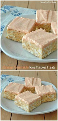Orange Creamsicle Rice Krispies Treats | Simply Southern Baking