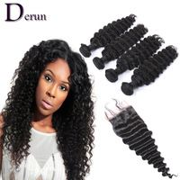 7A Peruvian Virgin Hair with Closure Deep Wave 4 Bundles Human Hair Weave with Lace Closure Knot are Bleached Peruvian Deep Wave