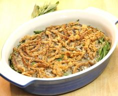 Herbed French Green Bean Casserole with Crispy Red Onions