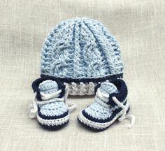 Crochet Baby Boy Hat and Sneakers Set Baby Boy Hat by LoopsInBloom