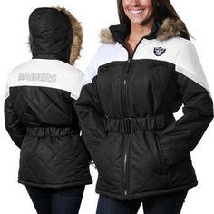 Oakland Raiders Ladies The Looker Full Zip Jacket - Black/White