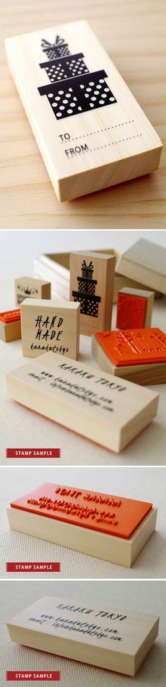 Sello de goma de tres caja de regalo Sellos Porción Karaku en Etsy