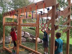 Ninja Warrior training course I made for the kids ( and myself) in our back yard. It has a peg board circuit, ring toss peg circuit, monkey bars, gymnastic rings, grip strength balls and dowels for sloper pull ups and swinging, and (of course) a salmon ladder!