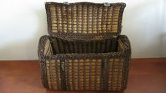Antique french wicker egg basket with lock and leather straps . Sewing Baskets, Wicker Baskets, Carved Eggs, Egg Basket, Steel Metal, Sewing A Button, White Enamel, Victorian Era, French Antiques