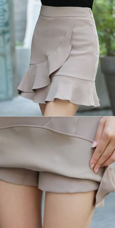 Frill Trim Mini Skort - Styleonme Best Picture For outfits For Your Taste You are looking for something, and it is going - Sewing Clothes, Diy Clothes, Clothes For Women, Short Outfits, Cute Outfits, Summer Outfits, Diy Vetement, Fashion Sewing, Korean Women