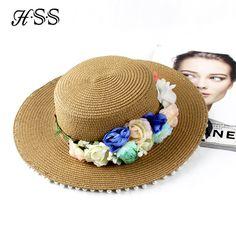 HSS Original Design Women Sun Hats Pearls & Flowers Straw Hats Fashion Garland Accessories Sea Beach Caps Snapback gorras