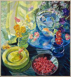 Janet Fish Raspberries and Goldfish oil on linen with acrylic gesso ground, x cm. Collection of Metropolitan Museum of Art, New York, New York, USA. Via Met. Still Life Artists, Painting Still Life, Fish Art, Art And Illustration, American Artists, Painting & Drawing, Collages, Modern Art, Contemporary Art